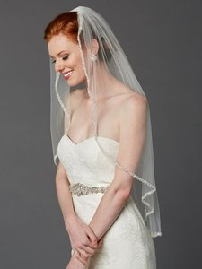 Mariell Rhinestone Edge Fingertip Ivory Bridal Veil With Pearls Beads & Crystals - 3327v-i