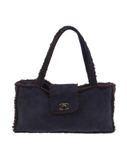 Chanel Shearling Suede Tote in Blue