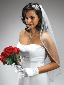 Mariell Rhinestone Edge Fingertip White Bridal Veil With Pearls Beads & Crystals - 3327v-i