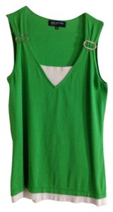 Jones New York Top Lime Green & White