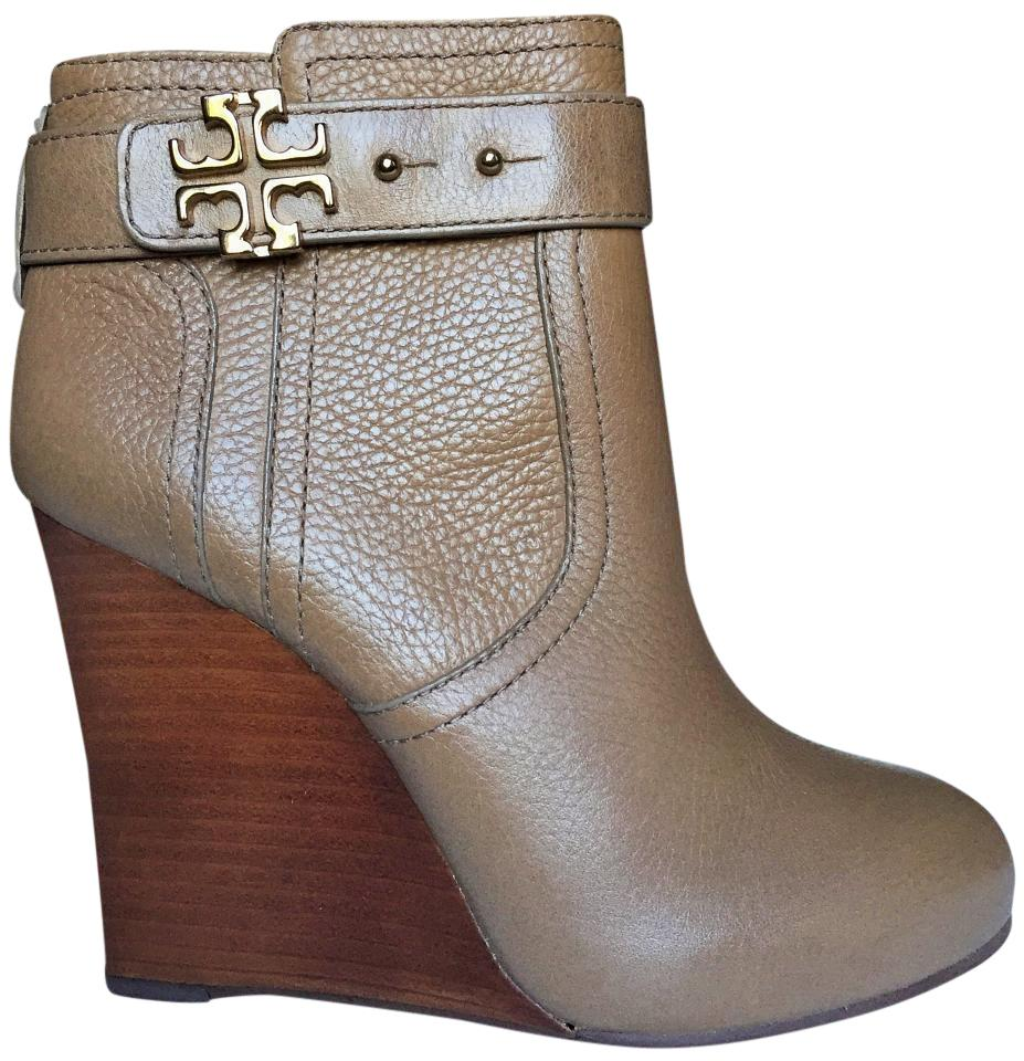 8454276e7321 Tory Burch Branch Elina 110mm Wedge Tumbled Leather Boots Booties ...