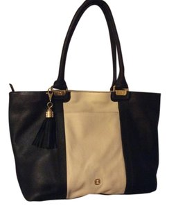 MONET Leather Tote in Black and Winter White