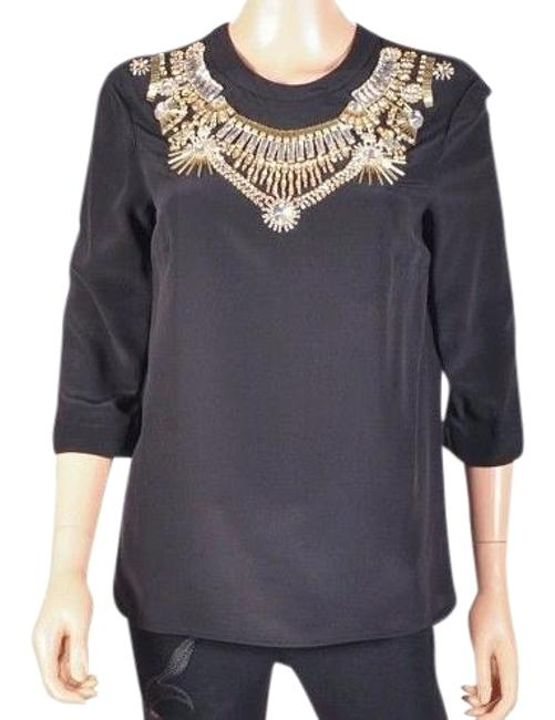 6a04f9af Versace Black New Crystal Embellished Silk Top high-quality - kdb.co.ke