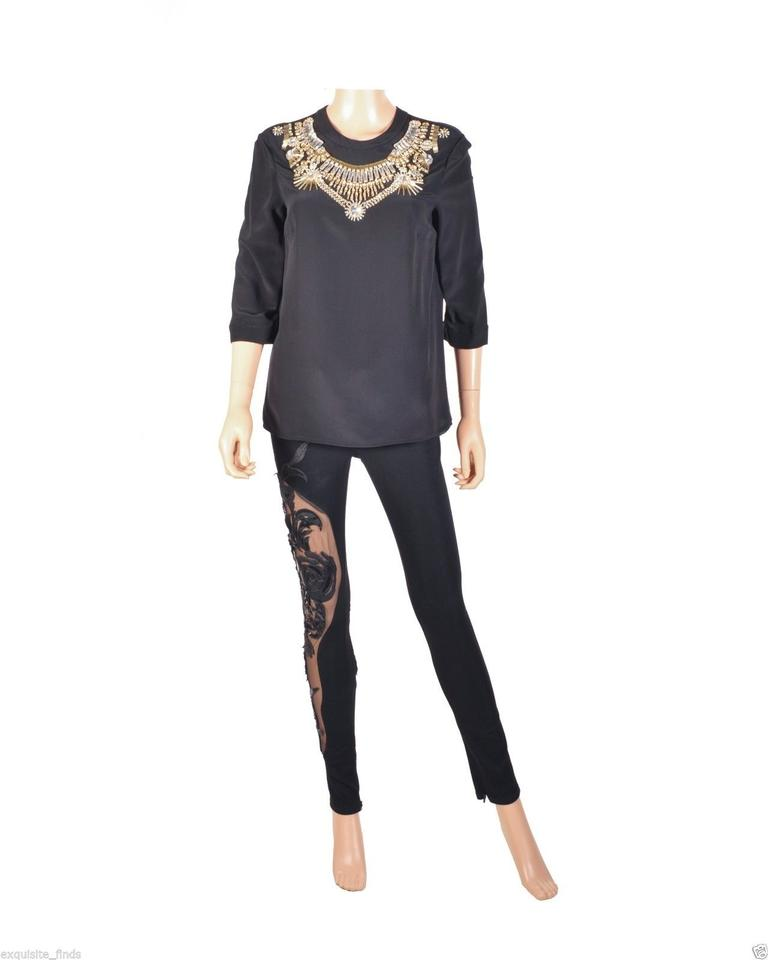 387e0697 Versace Black New Crystal Embellished Silk Blouse Size 6 (S)