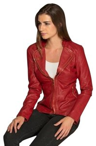 LA Coal. Flaming Red Leather Jacket