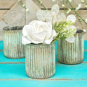 Patina Candle Holders 3.25 In Mint & Copper