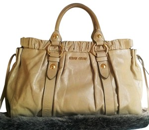 Miu Miu Leather Silk Gold Hardware Premium Luxury Satchel in Beige/Cream