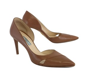 Prada Sepia Brown Leather Cutout Heels Pumps