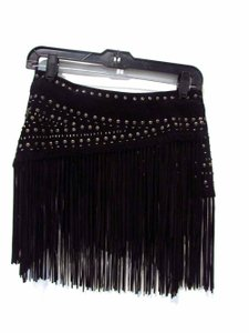 Lafayette 148 New York Leather Studded Snap Wrap Around Fringe Pant Overlay