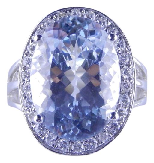 Other LARGE AQUAMARINE OVAL RING WITH PAVE SET DIAMONDS