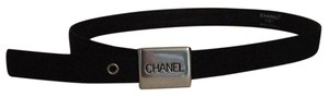 Chanel Chanel fabric belt with chanel pewter buckle