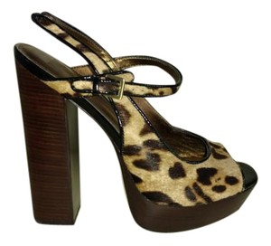 Pelle Moda Pony Skin Peep Toe Brown Platforms