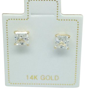 Other 14k Yellow Gold Princess Cut CZ Stud Earrings 4mm
