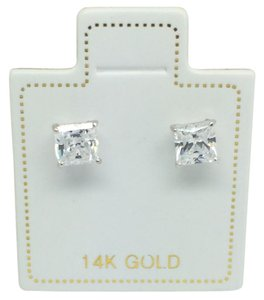 Other 14K White Gold Princess Cut CZ Stud Earrings 4mm