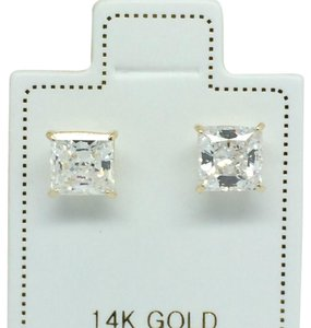 Other 14K Yellow Gold Princess Cut CZ Stud Earrings 5mm