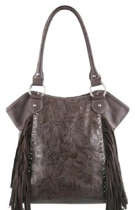 Montana West Tooled Leather Fringe Tote in Coffee