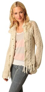 Free People Fringed Shawl Mixed Stitch Sweater