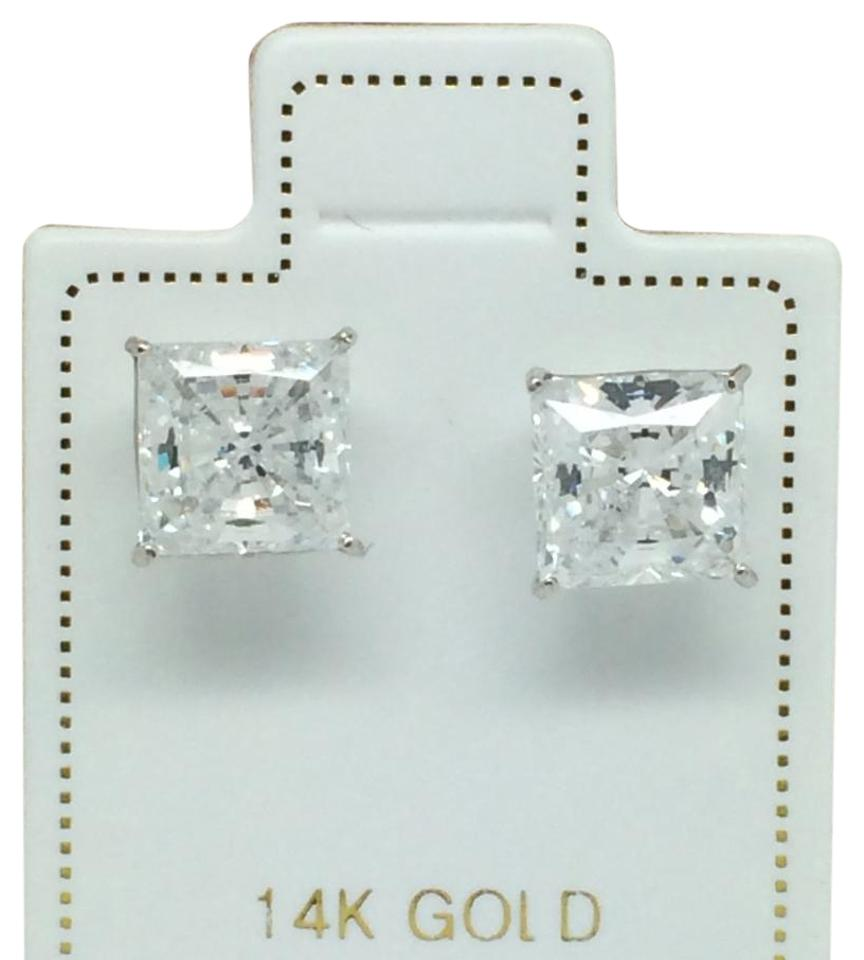 Other 14k White Gold Princess Cut Cz Stud Earrings 6mm
