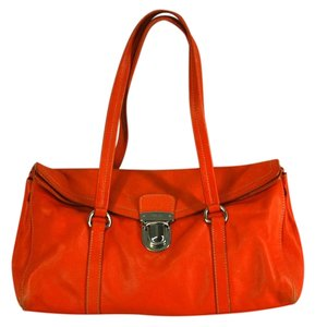 Prada Leather Push Lock Satchel in Orange