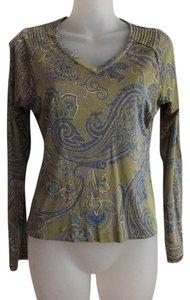 Carlisle 100% Silk V-neck Small Paisley Print Top Olive Green, Blue, light Gold, light Purple