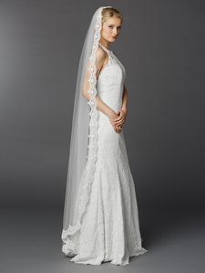 Mariell White Long Floor Or Chapel Length Mantilla with Lace 3325v-w Bridal Veil