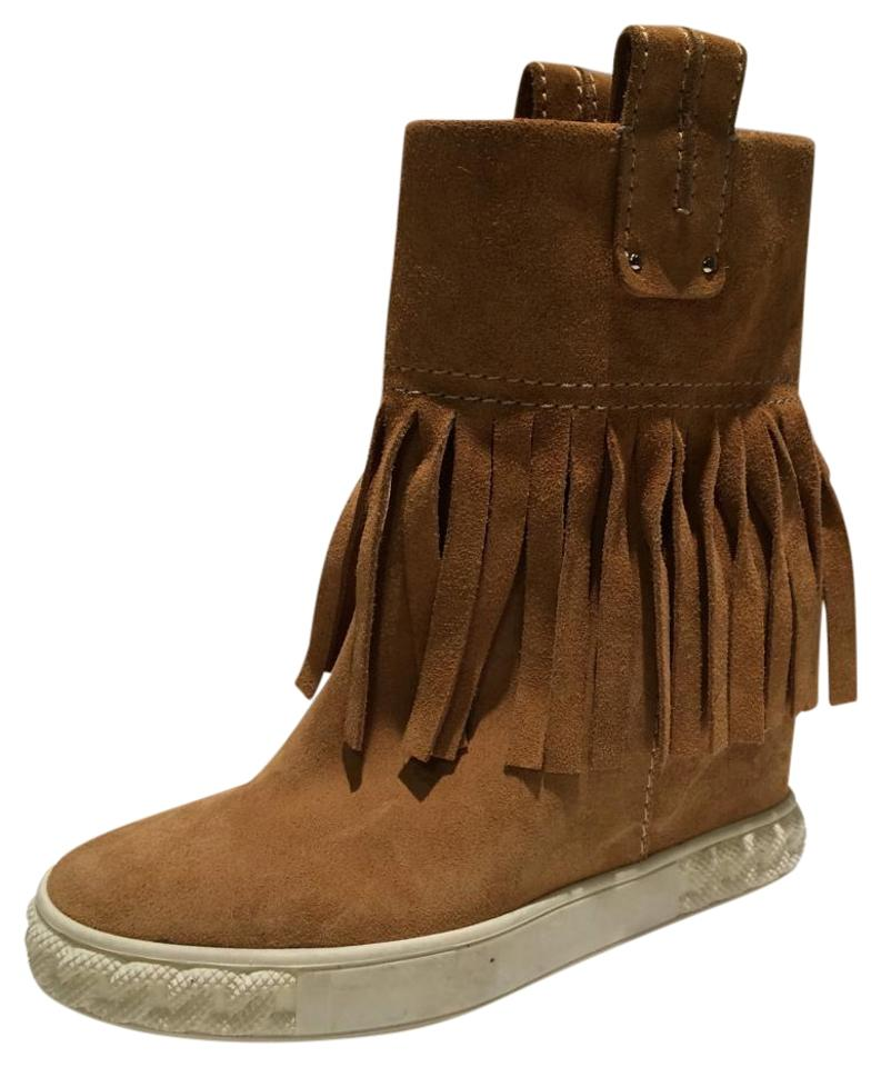 c66451c9b3d2 Casadei New Fringe Suede Wedge Ankle Boots Booties Size US 5 - Tradesy