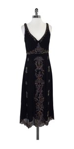 Nicole Miller Black Silk Beaded Dress