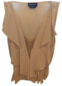 bebe Top Tan with gold beading