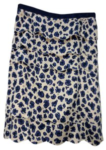 Tory Burch Tiered Scalloped Lined Skirt Blue Persian Leopard