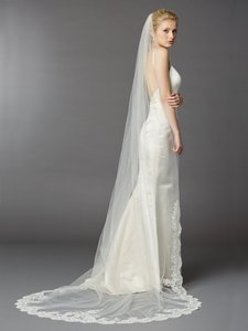 Mariell Embroidered Cathedral Mantilla Bridal Veil With Dramatic Beaded Lace Edge 4422v-i-s