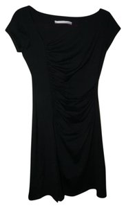 Susana Monaco short dress Black Stretchy Asymmetrical Neck Ruching Bodycon Cap Sleeves on Tradesy