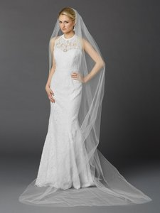 Mariell White Long Cathedral Length Single Layer Cut Edge In 4433v-108-w Bridal Veil