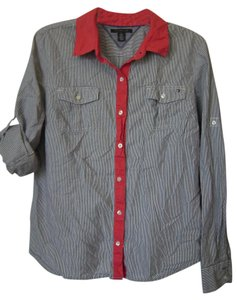 Tommy Hilfiger Button Down Shirt Blue and white stripe with red collar