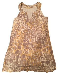Ann Taylor LOFT Top Linen tan, mustard & cream dress