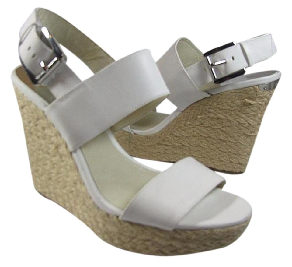 5bf8add15177 Michael Kors White New  posey  Leather Espadrille Wedge Sandals Size ...