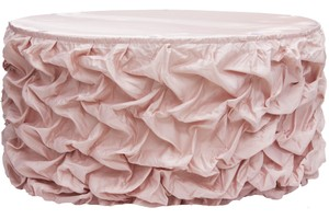 17ft Blush Table Skirt Romantic Gathered Pick Up Style Wedding Event Reception Party Banquet