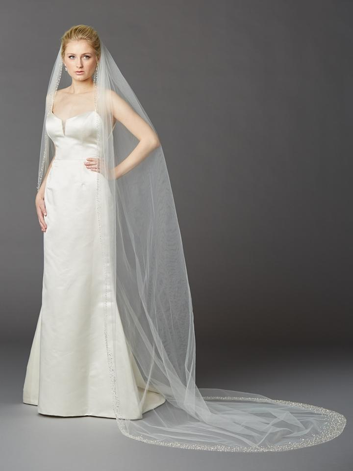 Mariell Ivory Long Cathedral With Dramatic Crystal Pearl And Beaded Edging 4424v I Bridal Veil