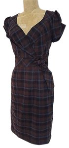 A.B.S. by Allen Schwartz Lined Faux Wrap Cap Sleeves Plaid Stretchy Dress