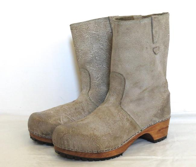 Item - Olive Gray Distressed Waxed Suede Clog Boots/Booties Size US 10 Regular (M, B)