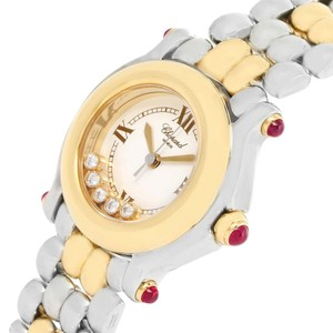 Chopard Chopard Happy Sport Steel Yellow Gold Floating Diamonds Watch 27/8278