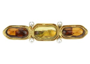 Chanel Vintage Amber Gripoix Pearl Brooch