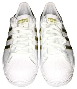 adidas Striped Leather White and Gold Athletic