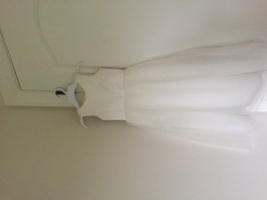 David's Bridal Ivory Satin Flower Girl Dress With Tulle Skirt/style S1038 Dress
