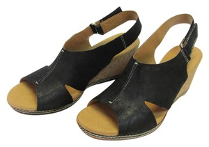 Clarks New Leather Size 9.00 M Black, Neutral Sandals