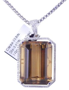 GORGEOUS LARGE CITRINE PENDANT WITH MICRO SET DIAMONDS AROUND
