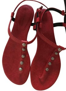 Balenciaga Leather Silverstudded Classic Rouge Cardinal (Red) Sandals