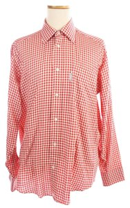 Façonnable White Checkered Plcnic Cotton Shirt Button Down Shirt Red
