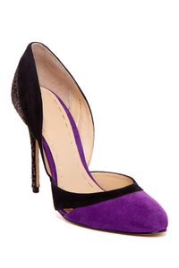 Enzo Angiolini Leopard Suede Black and Purple Multi Pumps