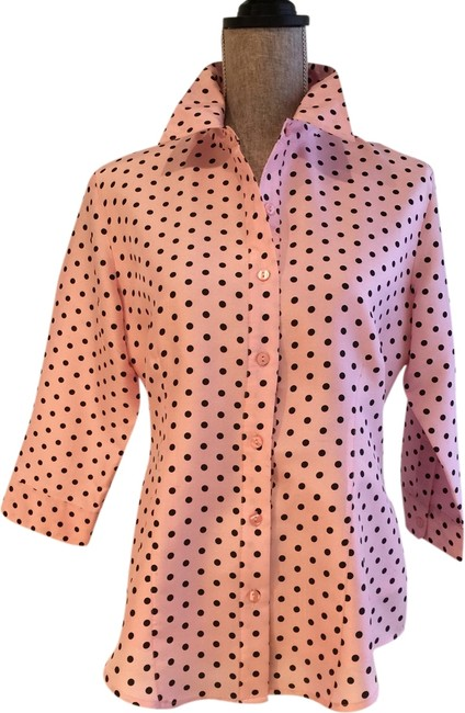 Other Silk Silk Blouses Vintage Polka Dot Tops Size Small Tops Button Down Shirt Pink and Black