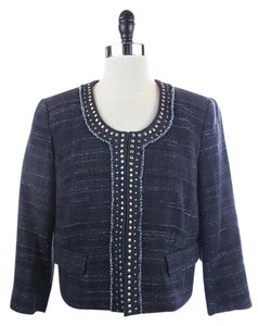 Ann Taylor LOFT Navy Studded Tweed Blue Blazer